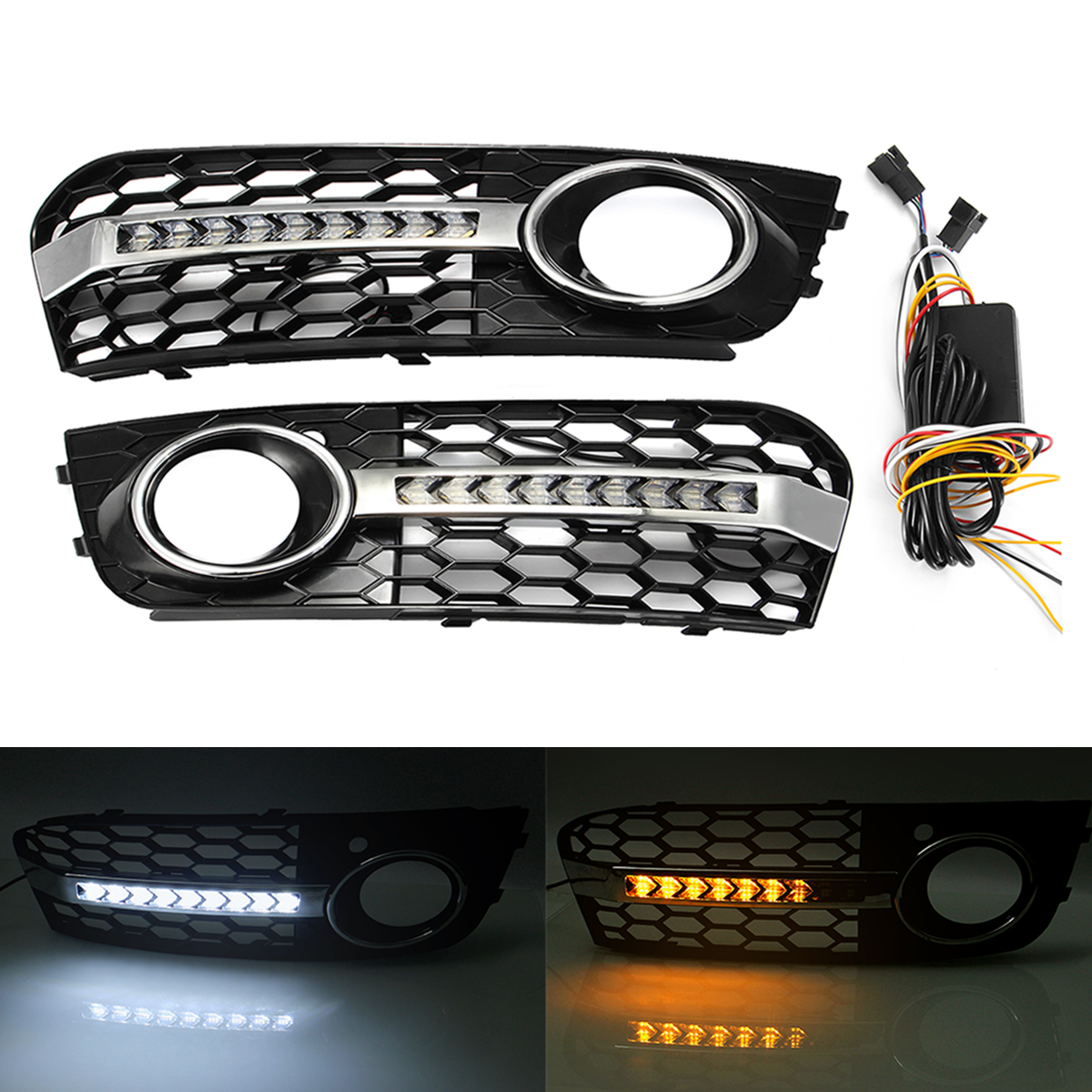 Honeycomb Mesh Fog Light Open Vent Grilles For Audi A4 B8 2009-2011 With Flowing Led Turn Signal Light Daytime Running lightHoneycomb Mesh Fog Light Open Vent Grilles For Audi A4 B8 2009-2011 With Flowing Led Turn Signal Light Daytime Running light