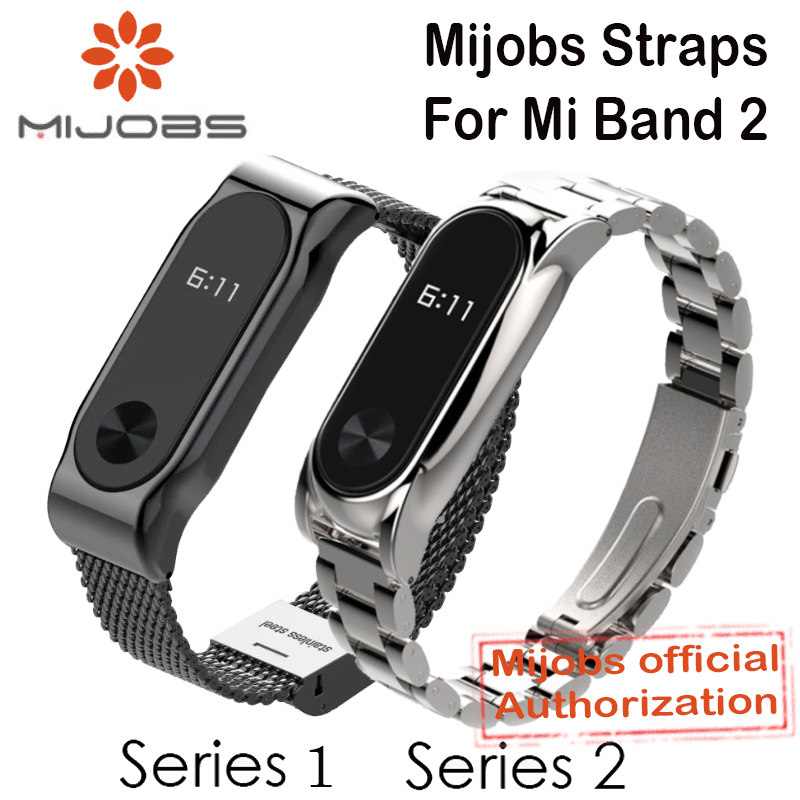 Mijobs Metal Strap For Xiaomi Mi Band 2 Straps Screwless Stainless Steel Bracelet Smart Band