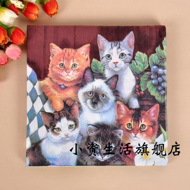 Min Order is $5, WN084 (1 pack ) animal cat pattern Napkin Paper 100% Virgin Wood Tissue for Party Decoration placemat