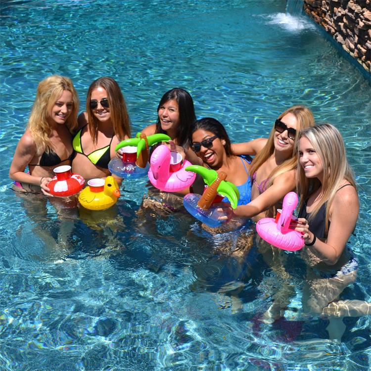 6pcs Float Flamingo coconut pineapple Cup holder Coaster Inflatable Drink Holder For Swimming Pool Party Beach Wedding Decoratio