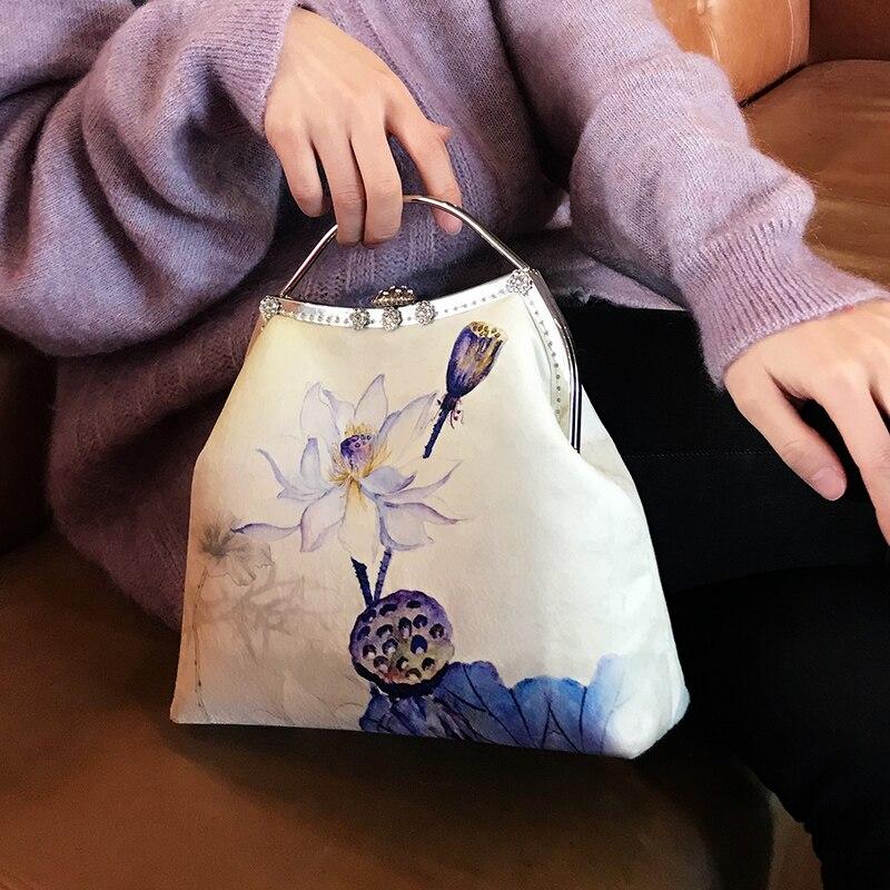 Professionnel bricolage à la main artisanat matériel paquet pour la mode fleur Lotus Design femmes sac à main (24x21x9 cm) métal cadre sac