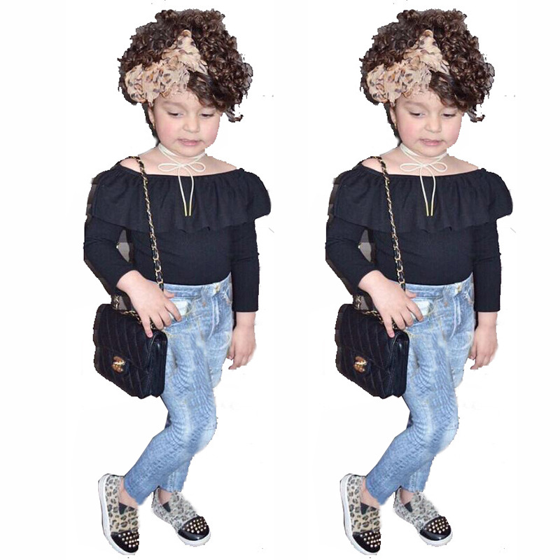 2018 New Girl Clothes Sets Long Sleeves Black Shoulder T-shirt+jeans 2pcs Baby Girl Black Clothes Kids Clothing Girl Outfit humor bear baby girl clothes set new sequins letter long sleeve t shirt stars skirt 2pcs girl clothing sets kids clothes