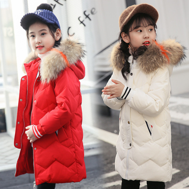 8cda3acd8 2018 New Children Winter Duck Down Girls Thickening Warm Down Jackets Boys  Long Big Fur Hooded Outerwear Coats Kids Down Jacket