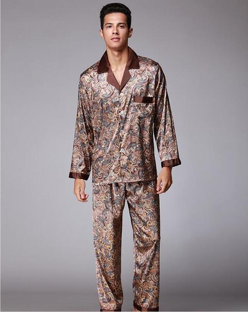 Fashion Pajamas Suit for Men Silky smooth Anti real silk Pajamas Bathrobe Leisure suit Elegant Leisure home Pajamas Sets QTZ073
