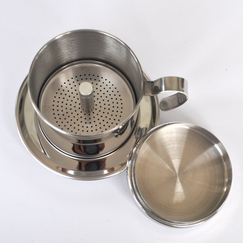 Portabel Stainless Steel Vietnam Coffee Dripper Filter Pembuat Kopi Kualitas Tinggi Drip Coffee Filter Pot Alat