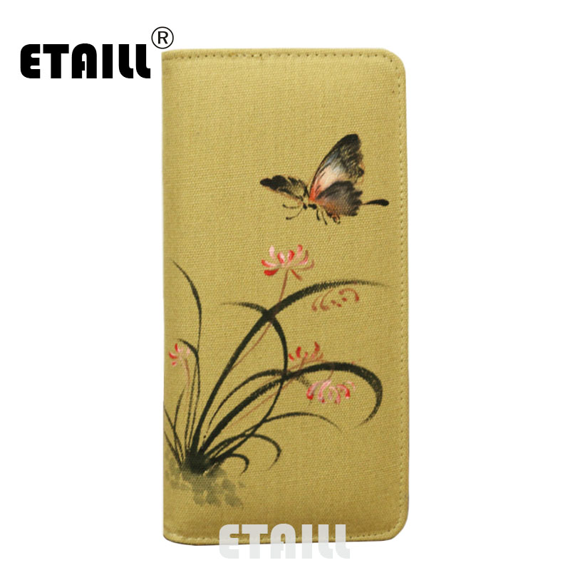 цены ETAILL 2017 Butterfly Hand Painted Floral Printing Chinese Style Cotton Wallet Long Zip Wristlet Bag Brand Design Casual Purse