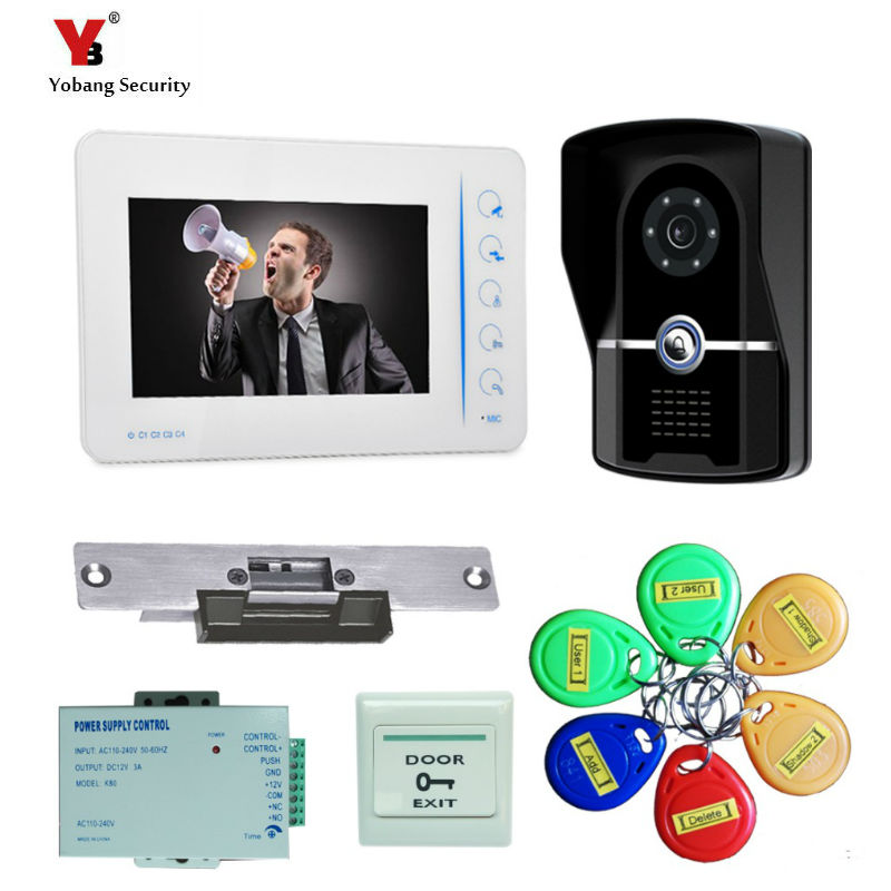 Yobang Security 7inch video door phone RFID Access Control System 5pcs Card for Apartment video doorbell phone intercom system wired 125khz rfid card smart card access control reader door control system 7 inch video door phone villa vide intercom bell