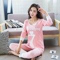 2016 Outono Pijamas Mulheres Pijamas Mujer Carta Impressão No. 7 Conjuntos Pijamas Femme Rosa de Manga Comprida Sleepwear Homewear Feminino M ~ XL