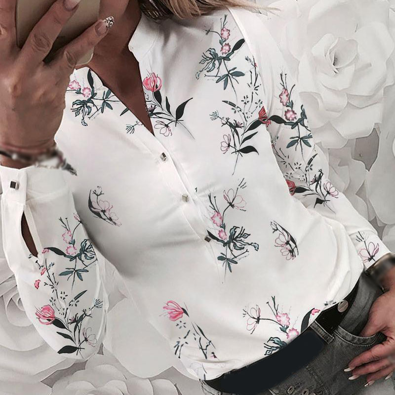 Women Tops Casual Ladies Blouse Lapel Collar  Work Office Slim  Long Sleeve Floral Printed Female Tops