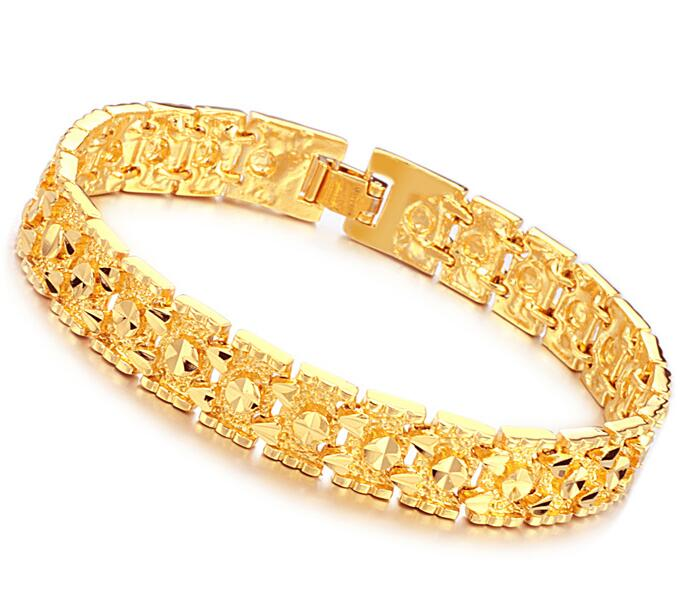 Luxury Jewelry Gold Color Bracelet Brand New Design Width 11mm Infinity Men Bangle Fashion Chain In Link Bracelets From
