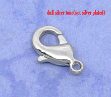 Silver Tone Lobster Clasps. Fits 12x7mm, sold per packet of 5 new(China)