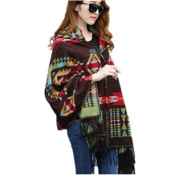 2019 السيدات شتاء دافئ مقنع التفاف المعطف الصوف والأوشحة الرؤوس العباءات والرؤوس ازتيك أبلى casacos femininos جديدة