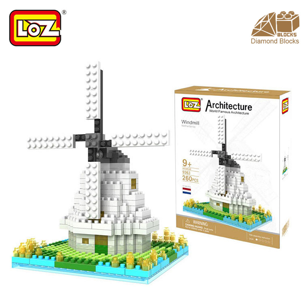 Mr.Froger LOZ Dutch Windmill Diamond Block World Famous Architecture Series Design DIY Building Blocks Classic Toys Children mr froger loz diamond block easter island world famous architecture diy plastic building bricks educational toys for children