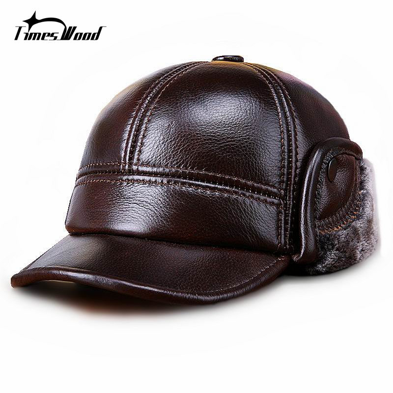 [TIMESWOOD] Genuine Real Cow Leather Caps Warm Mens Ear Protection Hat Fitted Casual Solid New Brown Russian Winter Baseball Cap kagenmo spring and autumn warm ear protection baseball cap upset cotton hat russian love 5color 1pcs brand new arrive