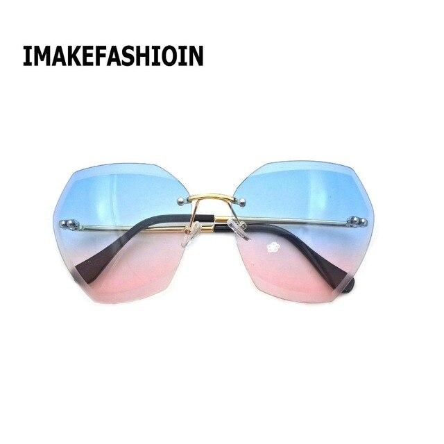 1649b4d08de84 IMAKEFASHION 2017 Hexagon Corte Lente Sem Aro Óculos De Sol Mulheres Tons  de Grandes Dimensões Do