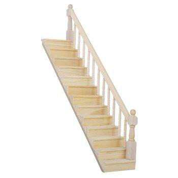 ABWE 1:12 casa de muñecas escalera de madera con pasamanos derecho pre-ensamblado pendiente de 45 grados