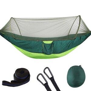 Image 5 - 250*120cm configuración rápida hamaca de red portátil cama colgante para dormir para acampar al aire libre viajes senderismo 98*47 tienda Pop Up