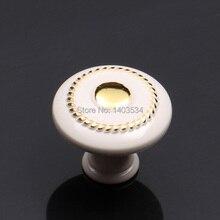 Dia. 36 мм Одно отверстие мебель ручку ящика ручки Античная ручку шкафа белый цвет Слоновой Кости