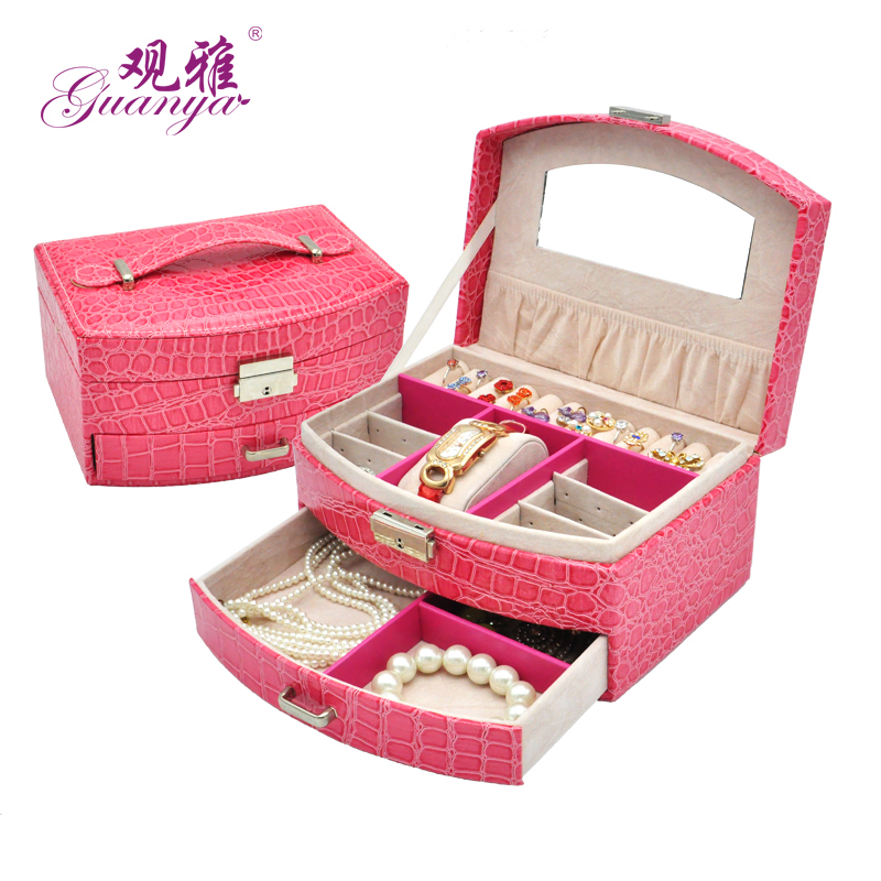 Super Fashion Gift Crocodile Style Jewelry Cosmetic Box Ring Earring Watch Box Storage Organizer For Wedding Gift,Festival Gift