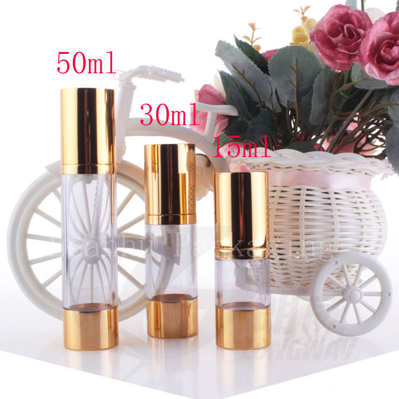 15g 30g 50g Gold Empty Vacuum Airless Press Pump Cosmetic