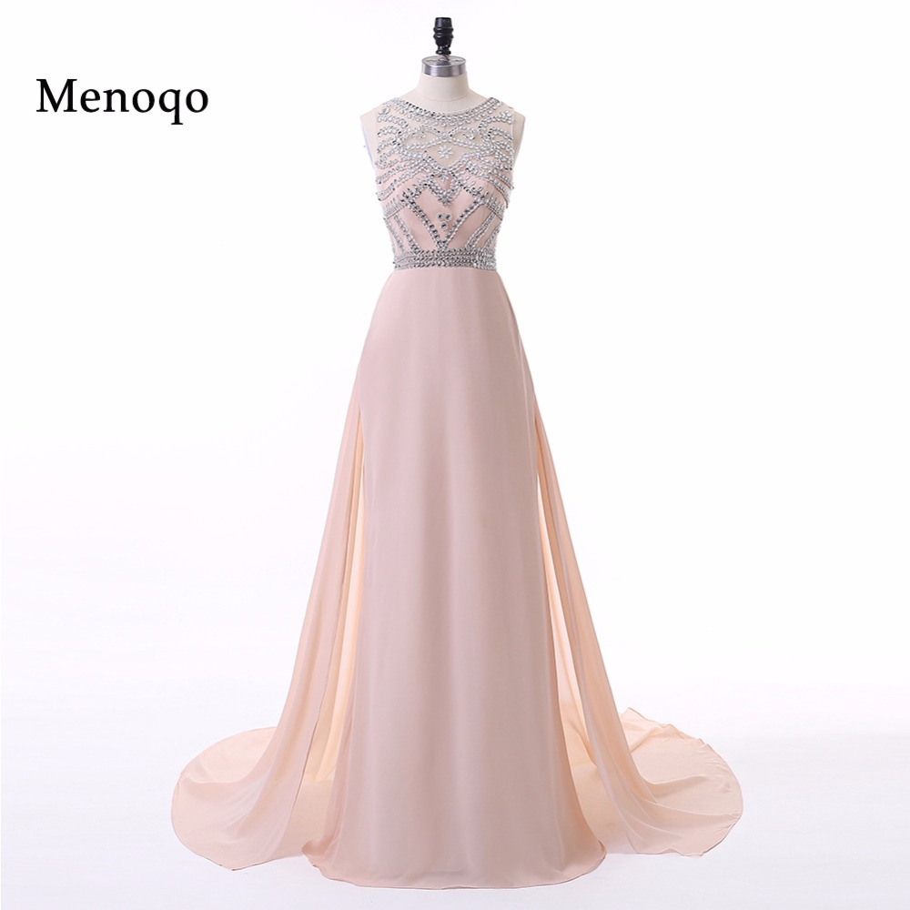 Menoqo W022516 A line Beaded Chiffon Long Prom Dresses 2019