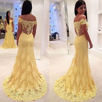 Beauty Emily Sexy Lace Yellow Long Evening Dresses 2020 for Women Formal Party Prom Dresses Mermaid Backless