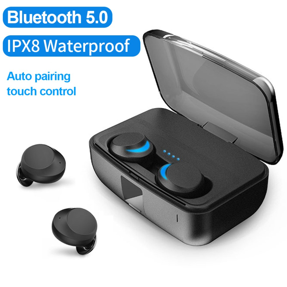 IPX8 Étanche sans fil écouteurs TWS bluetooth5.0 Contrôle Tactile Casque écouteurs intra-auriculaires écouteurs Appairage Automatique pour iPhone Xiaomi