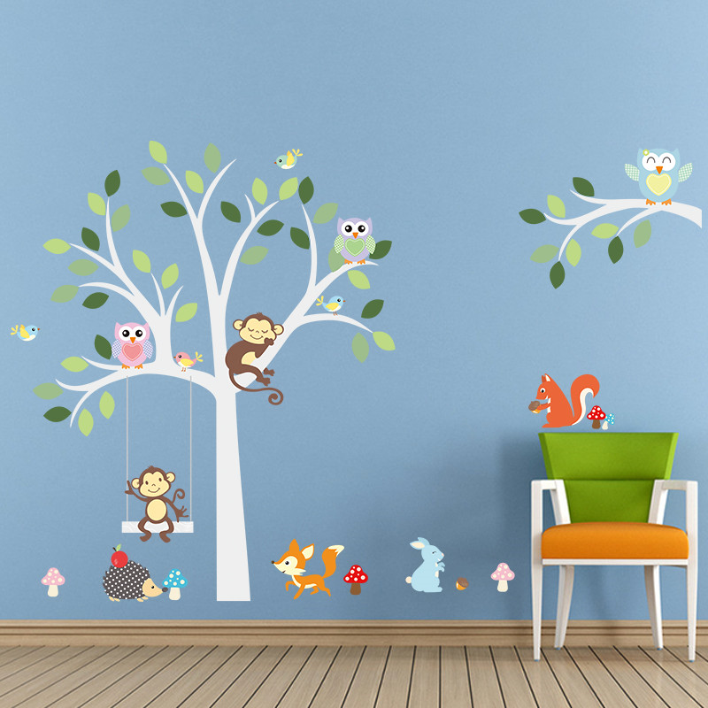 white tree wall stickers fox owls monkey sleep swing for kids children room birds wall decal vinyl sticker nursery room decor - Monkey Bedroom Decor