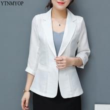 YTNMYOP однотонный белый льняной Блейзер Женский с рукавом три четверти летний костюм пальто одна пуговица тонкий офисный женский Блейзер Куртка