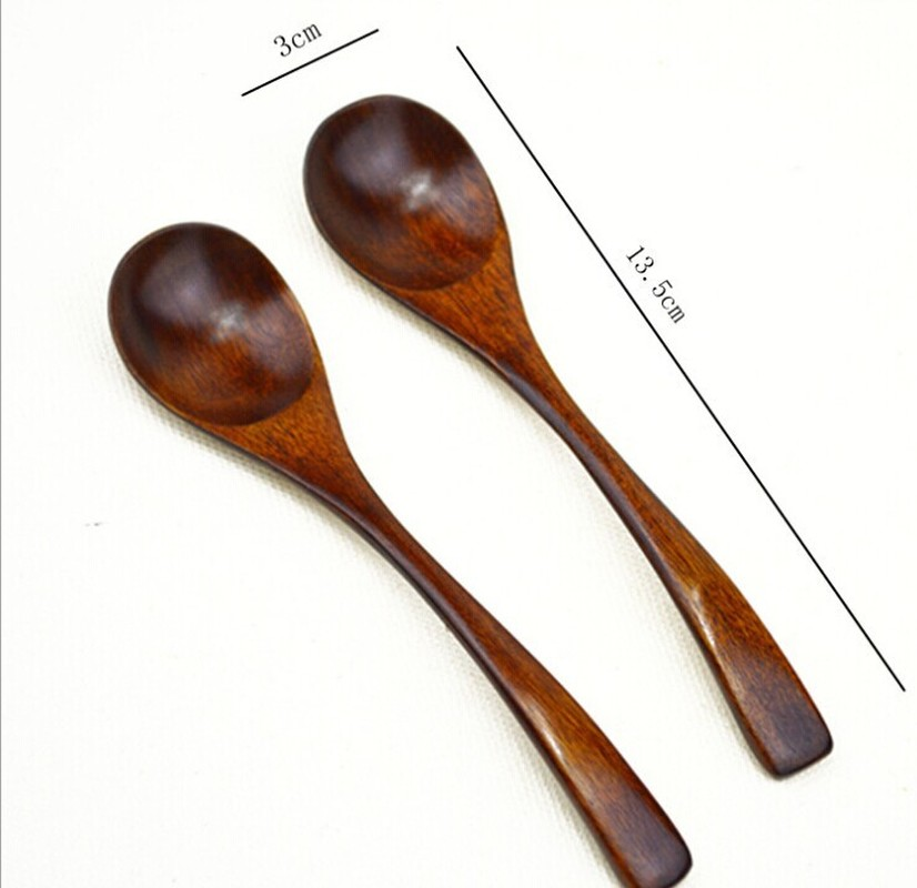 New Wooden Retro Spoon Kitchen Bamboo Cooking Tools Catering Soup Teaspoon