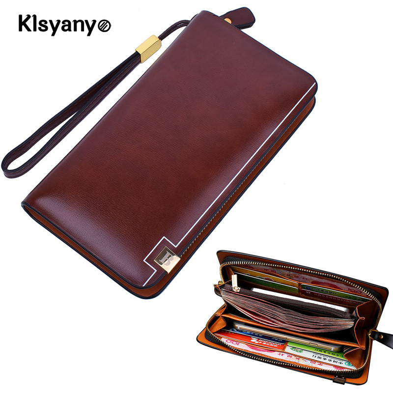 Klsyanyo Genuine Leather Fashion Men Double Zipper Wallet Men Purse Male Long Phone Wallet Clutch Bags with Credit Card Holder men s purse long genuine leather clutch wallet travel passport holder id card bag fashion male phone business handbag