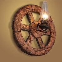Ретро промышленного Лофт Cafe творческая личность Гостиная коридор диффузный круглые деревянные Спальня ретро бра A98