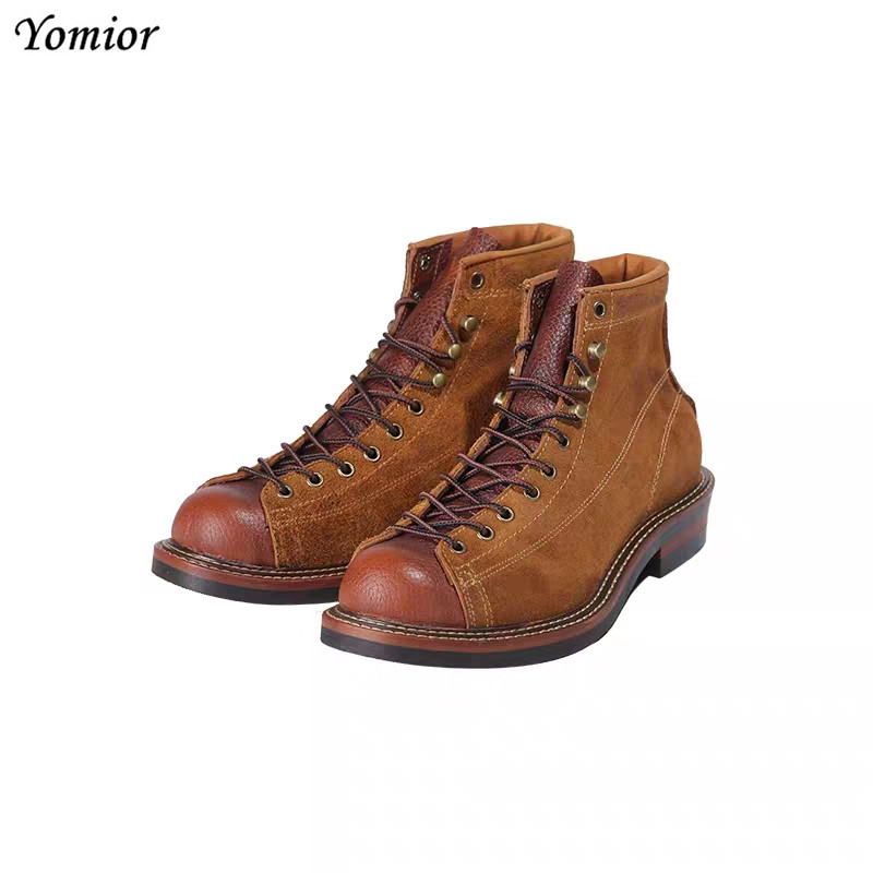Round Toe Genuine Leather Vintage British Top Quality Platform Ankle Boots Men Fashion Handmade Tooling Motorcycle Boots