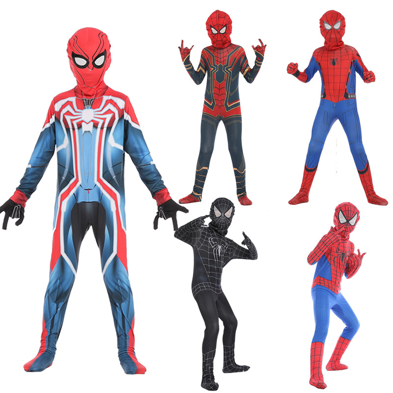 New Children Spiderman Cosplay Costume Marvel Superhero Children Fancy Jumpsuit Mask Halloween Birthday Party Set
