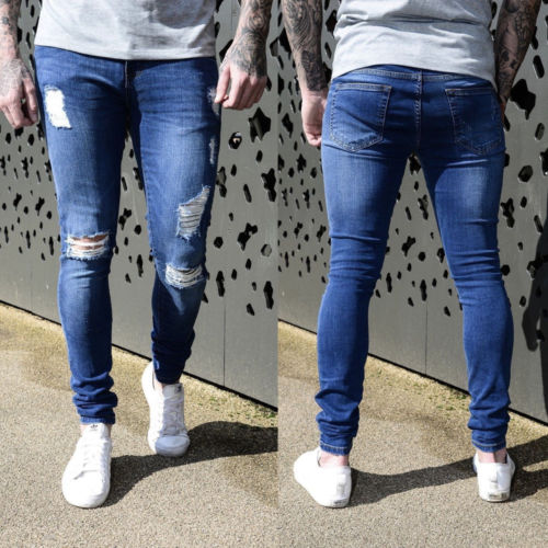 ac209feddd6 Fashion Mens Super Skinny Stretch Denim Enzo Designer Distress Ripped Hole  Freyed Stylish Jeans Soft Slim Pencil Trousers