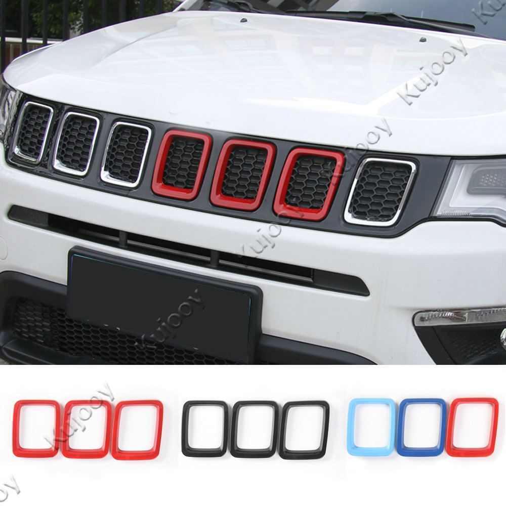 3color ABS Front Grille Molding Lid Middle Cover Trim Sticker Frame Decor For Jeep Compass 2017 Car Styling Accessories