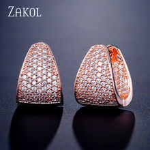 ZAKOL Grace Refinement แฟชั่น Vogue สี Clear Hoop ต่างหู Paved Micro Cubic Zircon Ear Hoop (China)