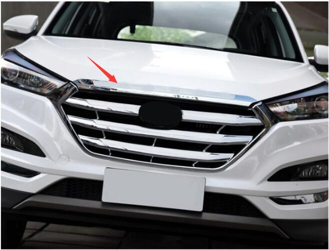 car styling case FIT FOR 2015 2016 HYUNDAI TUCSON CHROME FRONT HOOD BONNET GRILL LIP MOLDING COVER TRIM BAR GARNISH MESH