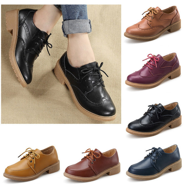 8cea186d8f46 Autumn Women Genuine Leather Flats Lace up Round Toe Black/Yellow Solid  Oxfords Shoes Rubber Sole Basic Flat