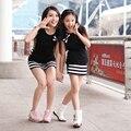 1 PC Família Olhar Da Criança Do Bebê Meninas/Mulheres Listrado Vestido de Manga curta Vestidos de Festa Da Princesa Crianças Roupas Da Filha Da Mãe vestido