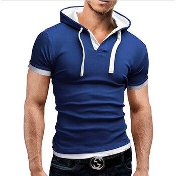 306d6cc2bd680 2019 мужская футболка Летняя Повседневное футболки с капюшонам Лидер продаж короткий  рукав Футболка Homme Slim Fit эластичный брендовая мужская од.