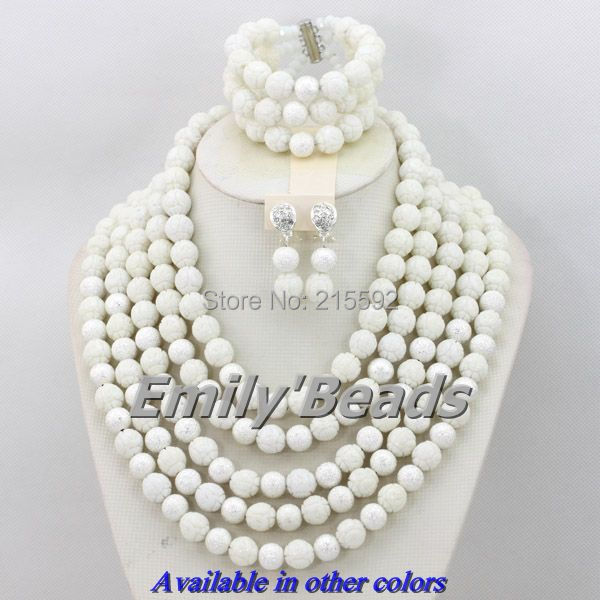 Здесь продается  African Coral Beads Jewelry Set White Indian Nigerian Wedding Bridal Necklace Jewelry Set 5 Layers Wholesale Free Shipping CJ170  Ювелирные изделия и часы