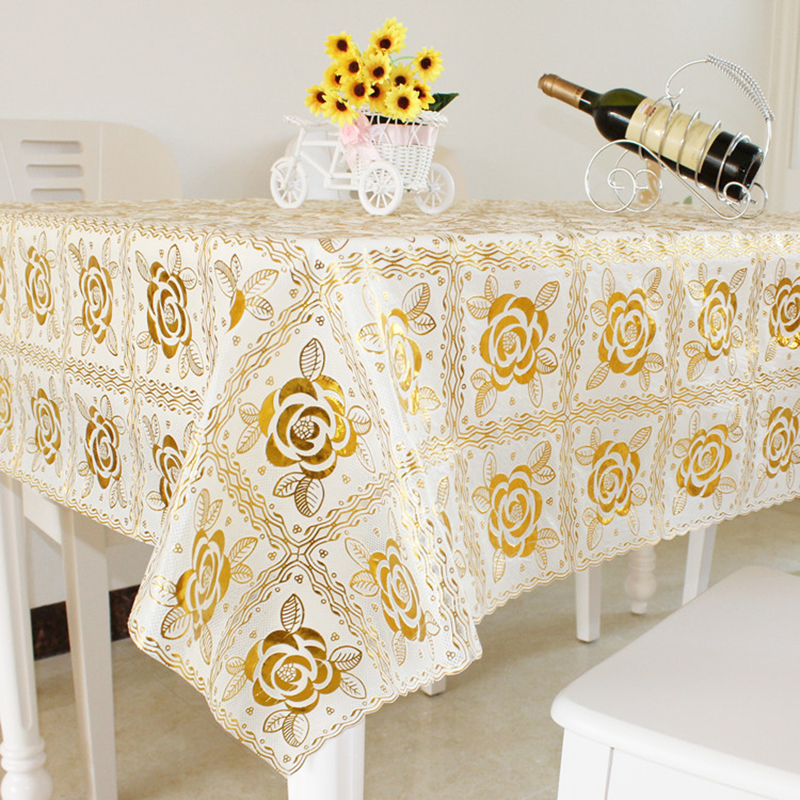 transparent pvc tablecloth rose flower design gold soft pvc table cloth waterproof oilproof table cloth restaurant 135*180cm