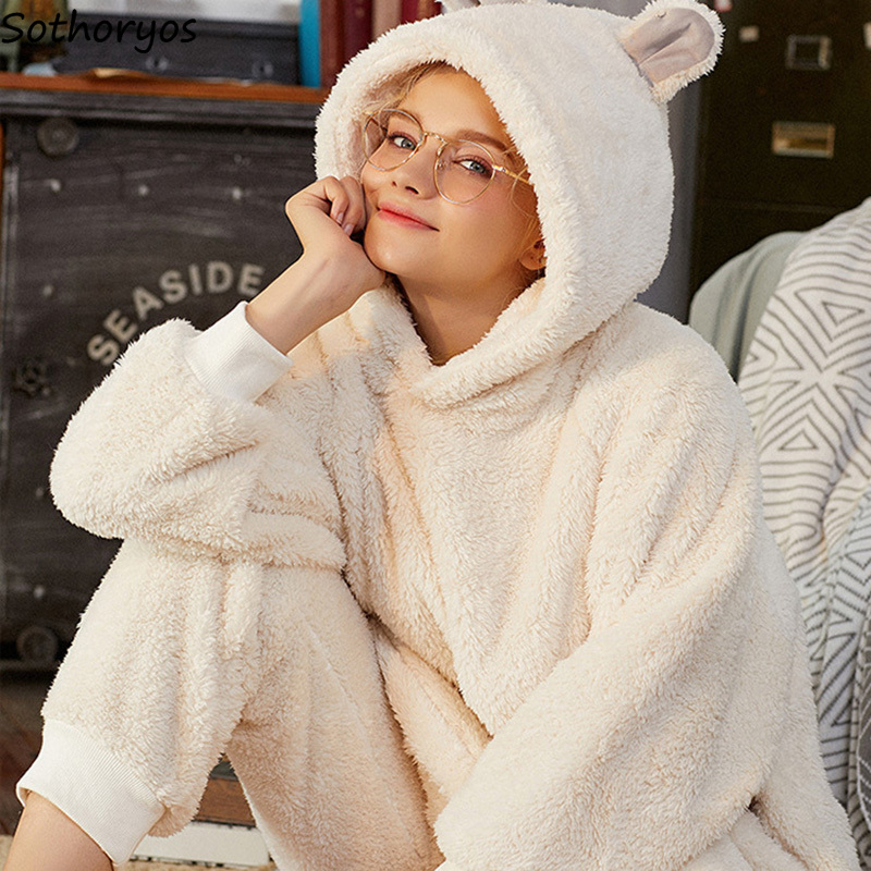 Pajama Sets Women Hooded Solid Simple Kawaii Pockets Warm Winter Sweet Womens Long Sleeves Sleepwear Coral Fleece Trendy Set