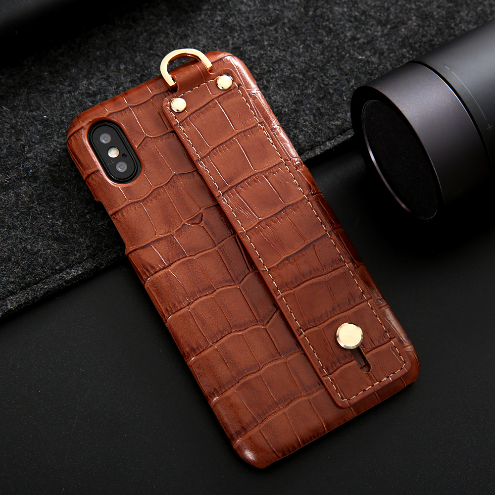 size 40 da904 9f781 For iPhone XS Leather Case Luxury Crocodile Pattern Hand Strap ...