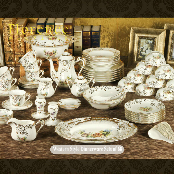 West Style Onglazed Gold Inlay Dinnerware Sets of 68 Royal Bone China Porcelain Handmade Crockery Relief : western style dinnerware sets - pezcame.com
