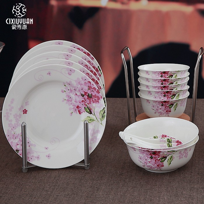 Plates For Sale >> Us 33 88 50 Off Sale 24 Piece Set Lilac Blossom Painting Fine Bone China Tableware Set Ceramic Dinner Plates Vintage Kitchen Sets In Dinnerware