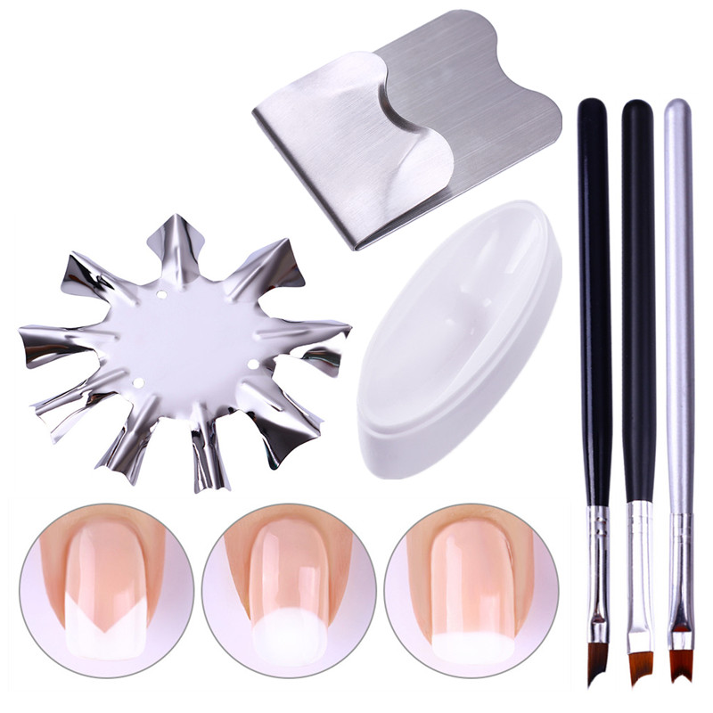 1 Pc Easy French Line Edge Cutter Stencil Trimmer Multi-size French Nail Brush Nail Art French Styling Design  Tool