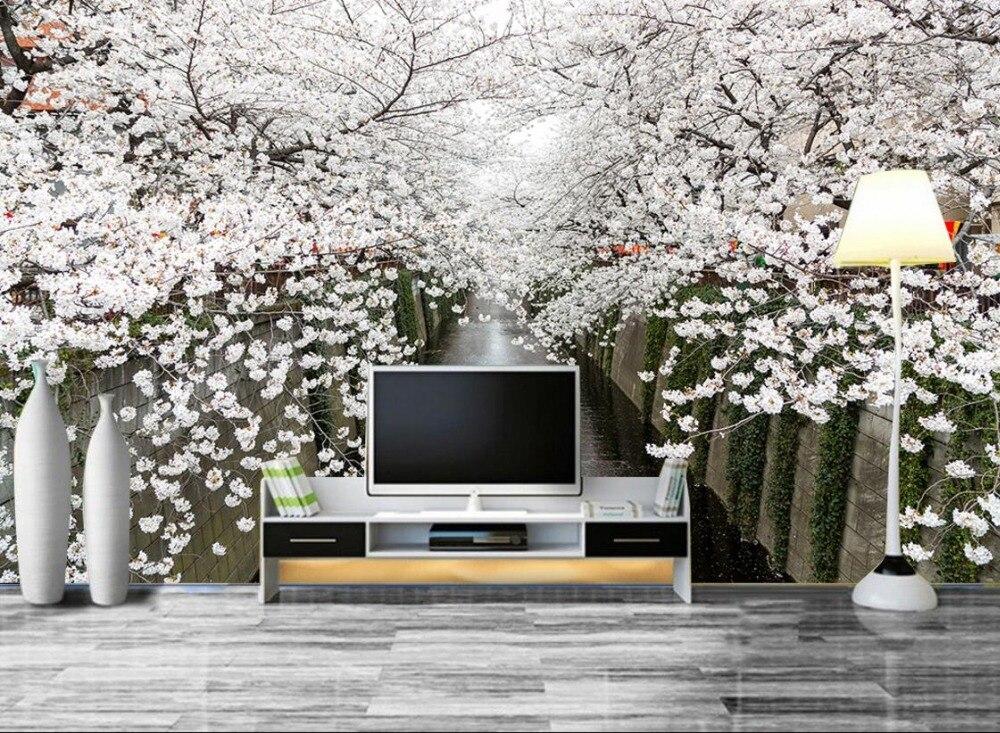 Custom Simple European Style 3d Wallpaper Landscape Cherry Blossoms Room Wallpaper Mural Nonwovens 3d Background  Home Decor