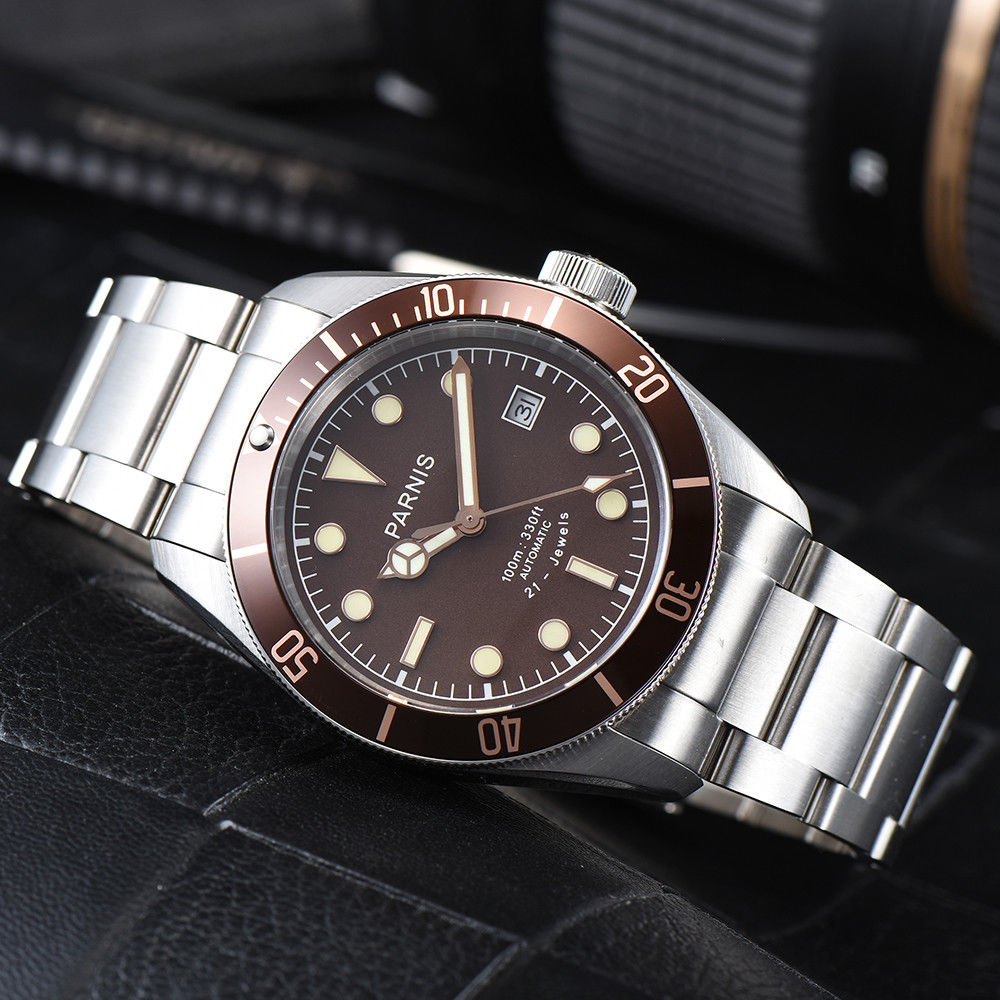 где купить NEW Brand 41mm parnis Brown Dial Sapphire Glass Luminous Hands Date Rotating Bezel Luxury Miyota Automatic Movement men's Watch по лучшей цене